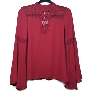 Band Of Gypsies Bell Sleeve Crocheted Top Size XS